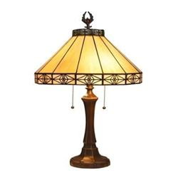 """IDEN"" Tiffany-style 2 Light Mission Table Lamp 16"" Shade"