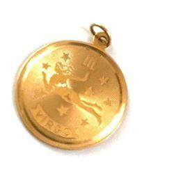 14kt Gold Rembrandt Virgo Astrology Pendant Charm