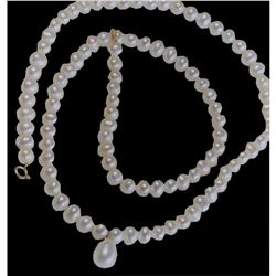 """18"""" Freshwater Pearl Droplet 14kt Gold Necklace"""