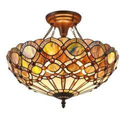 """PRISMA"" Tiffany-style 2 Light Semi-flush Ceiling Fixture 16"" Shade"