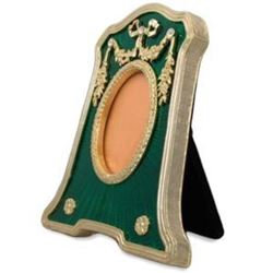 Faberge-Inspired Rectangle with Oval Opening Green Enameled Guilloche Russian Antique Style Picture