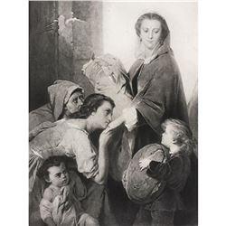 19thc French Photogravure Print, Charity