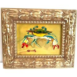 Chesapeake Bay Blue Crab Abstract Oil Painting