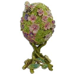 Butterfly on Clover Royal Inspired Russian Egg 4.5 Inches
