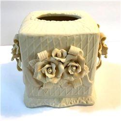 Bisque Porcelain Roses Floral Tissue Box Cover
