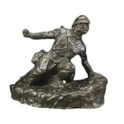 C1918 Wwi Signed Bronze Sculpture