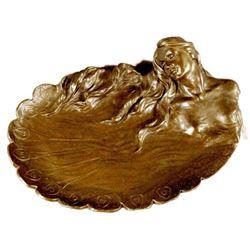 MERMAIDS Statue Jewelry Tray Bronze UNIQUE ART DECO SCULPTURE HOT CAST DECORATIO