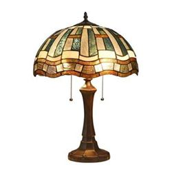 """DENBY"" Tiffany-style 2 Light Mission Table Lamp 16"" Shade"