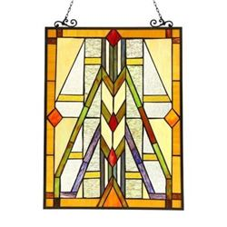 """MENAHEM"" Tiffany-style Glass Window Panel 17.5x25"