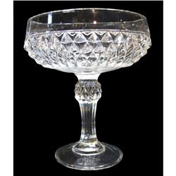 Diamond Pressed Glass Pedestal Candy Dish