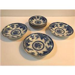 19thc English T Furnival & Sons Flow Blue Bombay Dinnerware Bowls