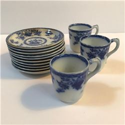 Set of 19thc English T Furnival & Sons Bombay Flow Blue Cups & Saucers