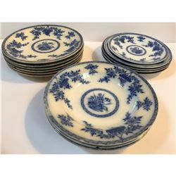 19thc T Furnival & Sons English Flow Blue Bombay Plates Set
