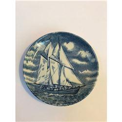 "Vintage English Staffordshire, Nova Scotia ""Bluenose II"" Fishing Schooner Trinket Dish"