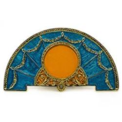 Aqua Enameled Semicircular Russian Royal Faberge-Inspired Picture Frame