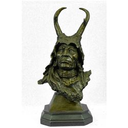 "Bronze Bust Sculpture of Native American in Antler Headdress 17"" x 9"""