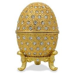 "Faberge Inspired 2.5"" 200 Crystals Gold Enamel Faberge Inspired Russian Easter Egg"