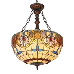 "Tiffany-style 2 Light Victorian Inverted Ceiling Pendant 18"" Shade"