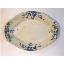 Large English Victorian Thomas Hughes & Son Flow Blue Platter
