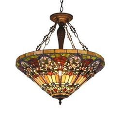 "Tiffany-style 3 Light Victorian Inverted Ceiling Pendant 24"" Shade"