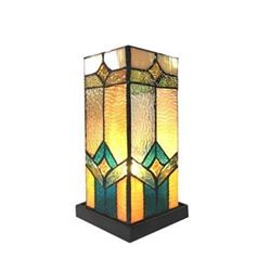 "GREGORY Tiffany-glass Accent Pedestal 1 Light Mission table lamp 11"" Tall"