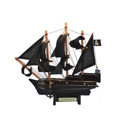Wooden Captain Kidd's Adventure Galley Model Pirate Ship 7""