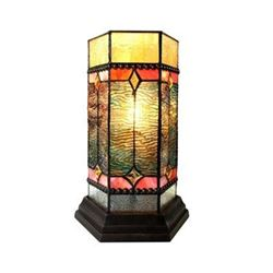 "NEILSON Tiffany-glass Accent Pedestal 1 Light Mission table lamp 14"" Tall"