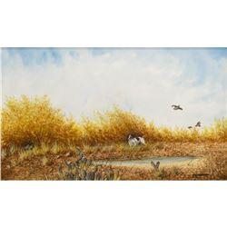 Daniel Maldonado (Texas) Quail & Pointer Watercolor
