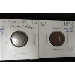 1899 & 1905 USA INDIAN HEAD PENNIES (2)