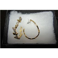Gold leaf style hoop earrings with swarovski crystals