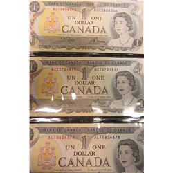1973 STOCK SHEET CANADIAN ONE DOLLAR BILLS