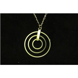 """Gold interlocking three circle pendant on 28"""" necklace with 2"""" extension"""