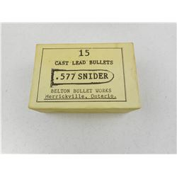 BELTON BULLET WORKS .577 SNIDER AMMO