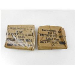 COLONIAL AMMUNITION MARTINI-HENRY RIFLE AMMO, CARTRIDGES S.A. BALL MARTINI-HENRY ROLLED CASE