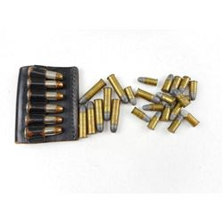 ASSORTED 38 SPECIAL & .32 S & W, INCLUDING LEATHER AMMO CLIP