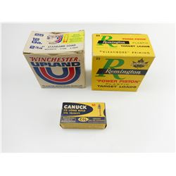 REMINGTON 12 GA. ALL-AMERICAN TARGET #9 AMMO, PETERS 12 GAUGE REMINGTON AMMO, CIL CANUCK 22 LONG RIF