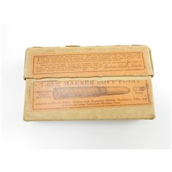 7.65 MM MAUSER SOFT POINT AMMO IN VINTAGE BOX