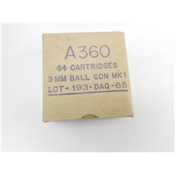 A360 9MM BALL CDN MK1 LOT 193-DAQ-65 AMMO
