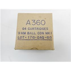 A360 9MM BALL CDN MK1 LOT 176-DAQ-65 AMMO