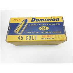 DOMINION 45 COLT AMMO IN VINTAGE CIL BOX