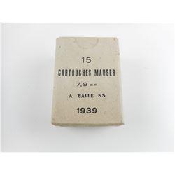 7.9MM MAUSER AMMO, STAMPED 1939