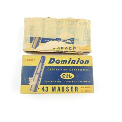 43 MAUSER AMMO, RELOADS, AND FACTORY