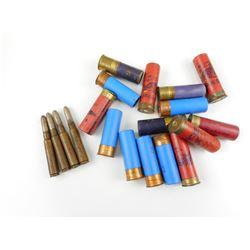 ASSORTED AMMO LOT, 6.5 X 54R AMMO, 12 GA. ASSORTED SHOTGUN SHELLS
