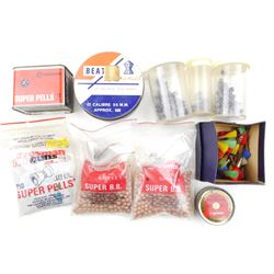 ASSORTED BB'S, PELLETS AND DARTS AMMO