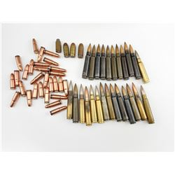 ASSORTED AMMO INCLUDING 45 ACP, 7.65X55 SWISS, 7.62 X 25, 8 X 59 BREDA, AND 7.5 X 54 FRENCH AMMO