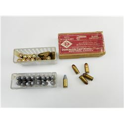380 AUTO AMMO, .358 AMMO, 38 S&W BLANKS & BRASS IN VINTAGE DOMINION BOX