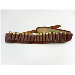 LEATHER AMMO BELT, INCLUDING 16 SHOT SHELLS ASSORTED 12 GAUGE AMMO