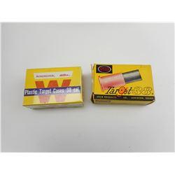 WINCHESTER (WESTERN) & SPEER .38 CAL PLASTIC TARGET CASES PRIMED