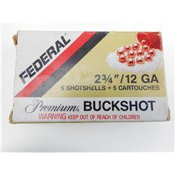 "FEDERAL 12 GA. 2 3/4"" PREMIUM BUCKSHOT AMMO"