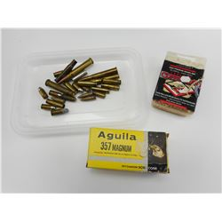 357 MAGNUM AMMO, COPPERHEAD BB'S, ASSORTED AMMO, AND BRASS